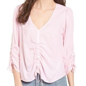 Pink & White Stripe Blouse with Cinched Waist (S)